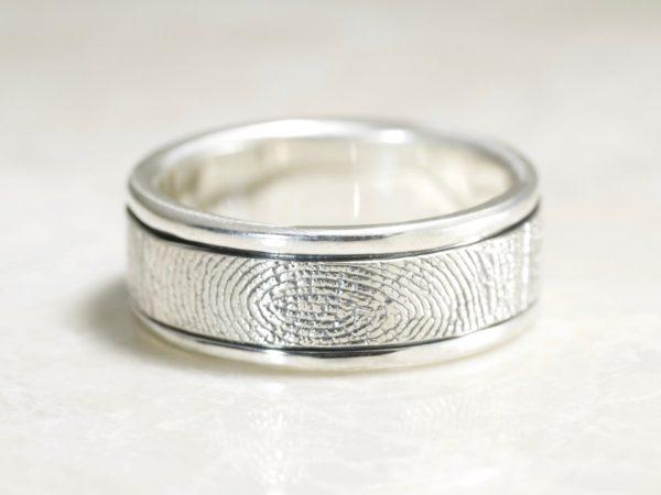 Handcarved Rims Fingerprint ring by Brent&Jess