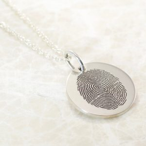 Custom ¾ inch fingerprint pendant