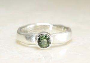 Sterling Silver Organic Edge Alternative Engagement Ring With Green Tourmaline and your fingerprint by Brent&Jess