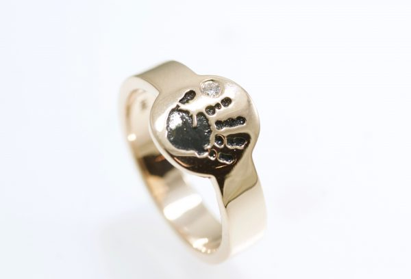 Custom Child Handprint ring with diamond in 14k rose gold by Brent&Jess