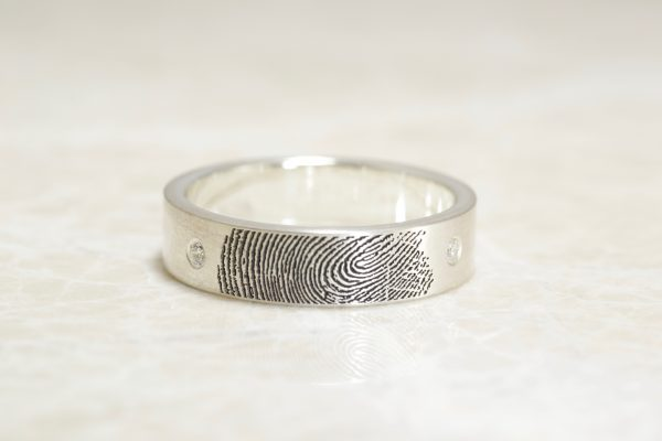 Two Diamond Fingerprint Wedding Band in Sterling Silver