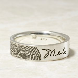 Custom Memorial fingerprint and signature ring by Brent&Jess 6mm comfort fit flat