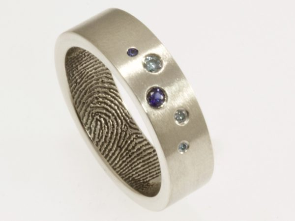 Scattered Blue Diamonds and Sapphires Fingerprint Wedding Band in Sterling Silver