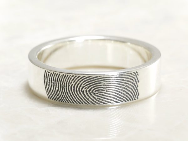 Custom wide fingerprint ring by Brent&Jess