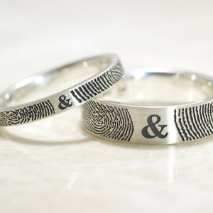 Set of You and Me Forever Comfort Fit Fingerprint Wedding Bands in Sterling Silver