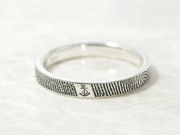 You are my anchor narrow fingerprint ring by Brent&Jess