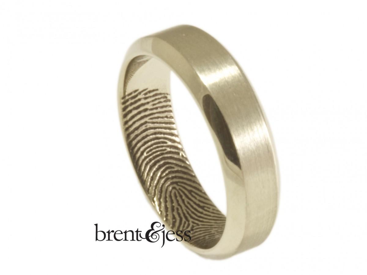 14k low dome inner tip fingerprint wedding rings by Brent&Jess