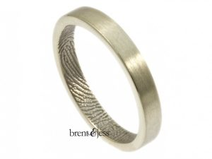 10k white 3mm inside fingerprint wrap handmade by Brent&Jess
