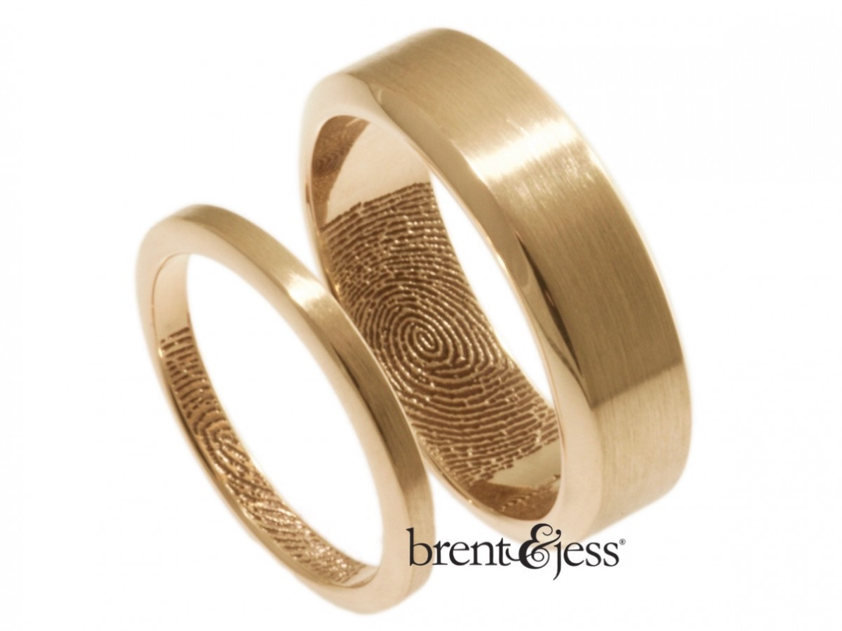 14k Rose handcrafted bevel edge fingerprint ring set by Brent&Jess