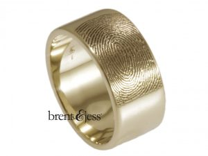 14k white 10mm flat band with an exterior fingerprint by Brent&Jess