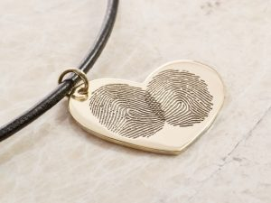 14k rose gold fingerprint necklace by Brent&Jess