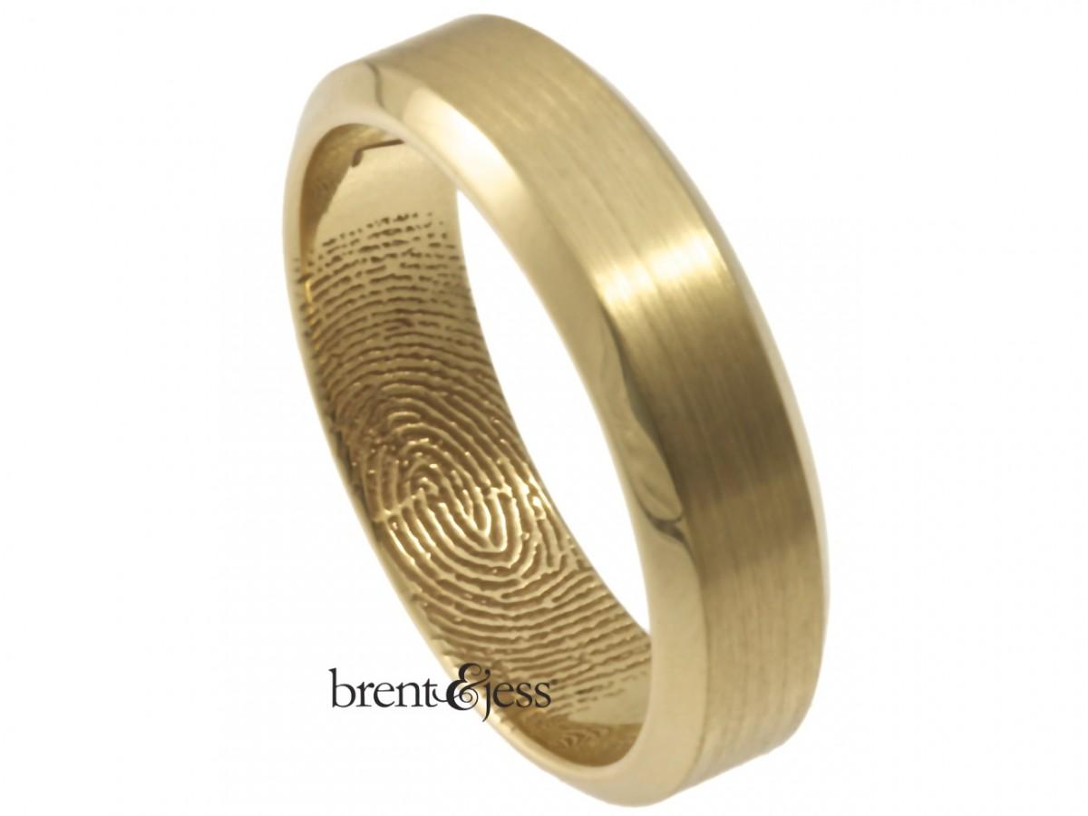 14k yellow bevel edge fingerprint ring by Brent&Jess