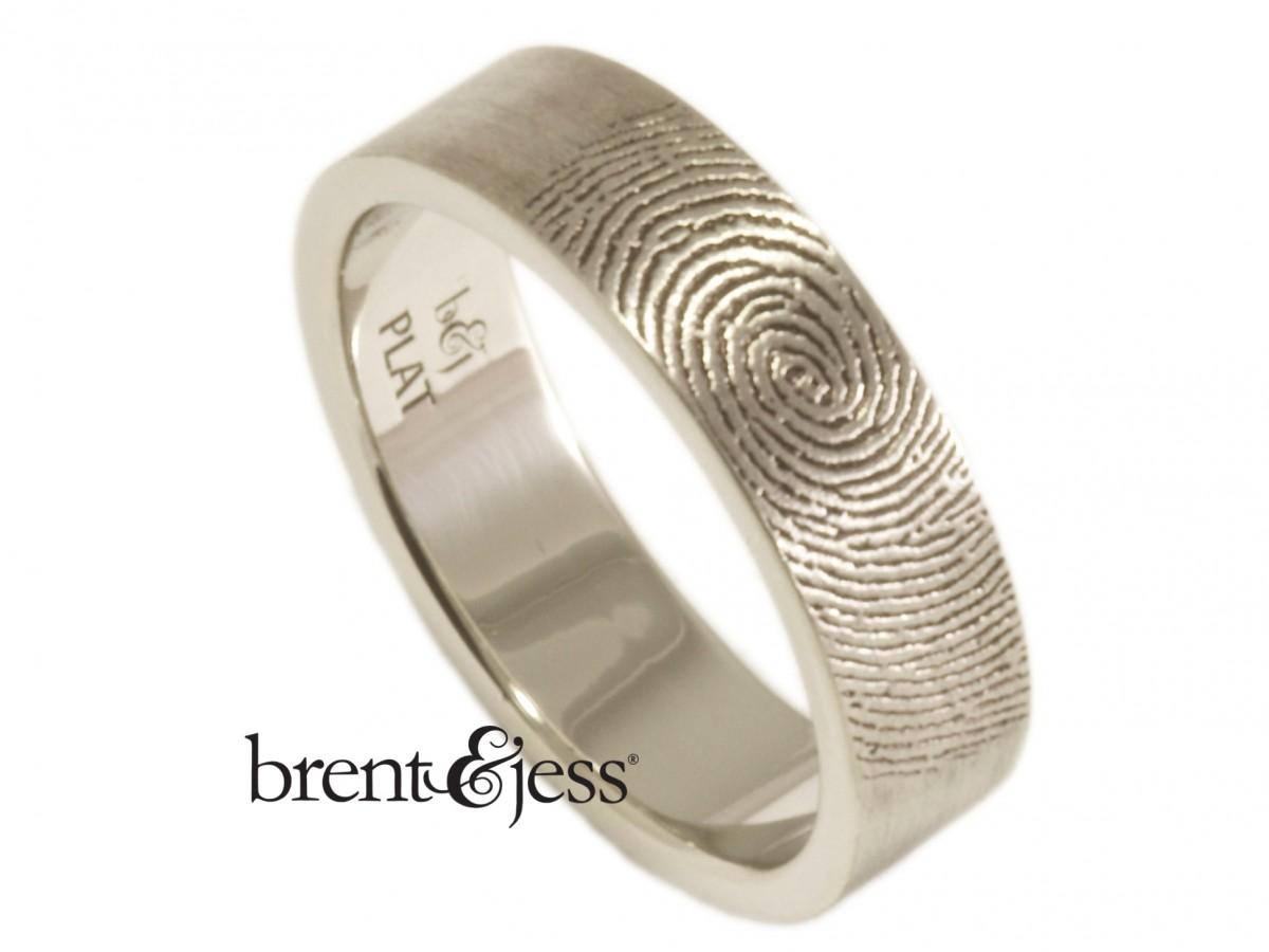 6mm platinum wedding Band with exterior fingerprint handmade by Brent&Jess