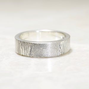6mm Sterling Silver Fingerprint Wedding Band with Exterior Fingerprint Wrap