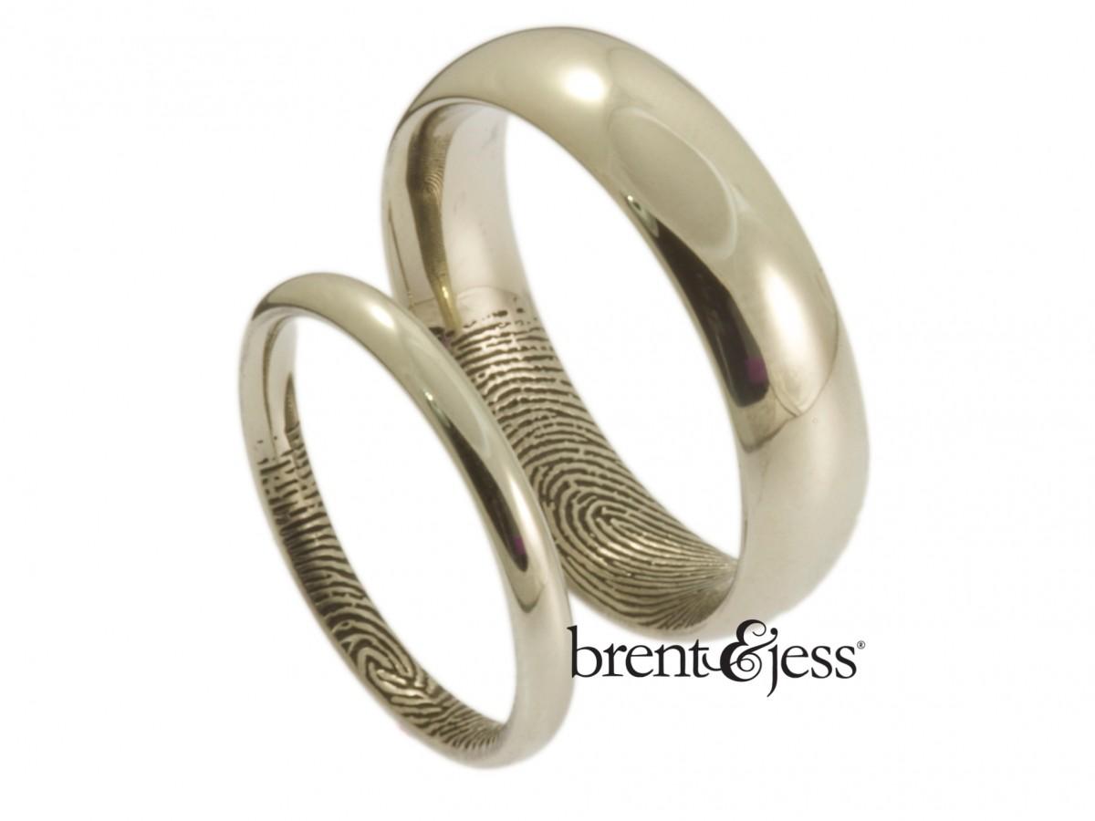 Brent&jess 10k white gold comfort fit wedding band set