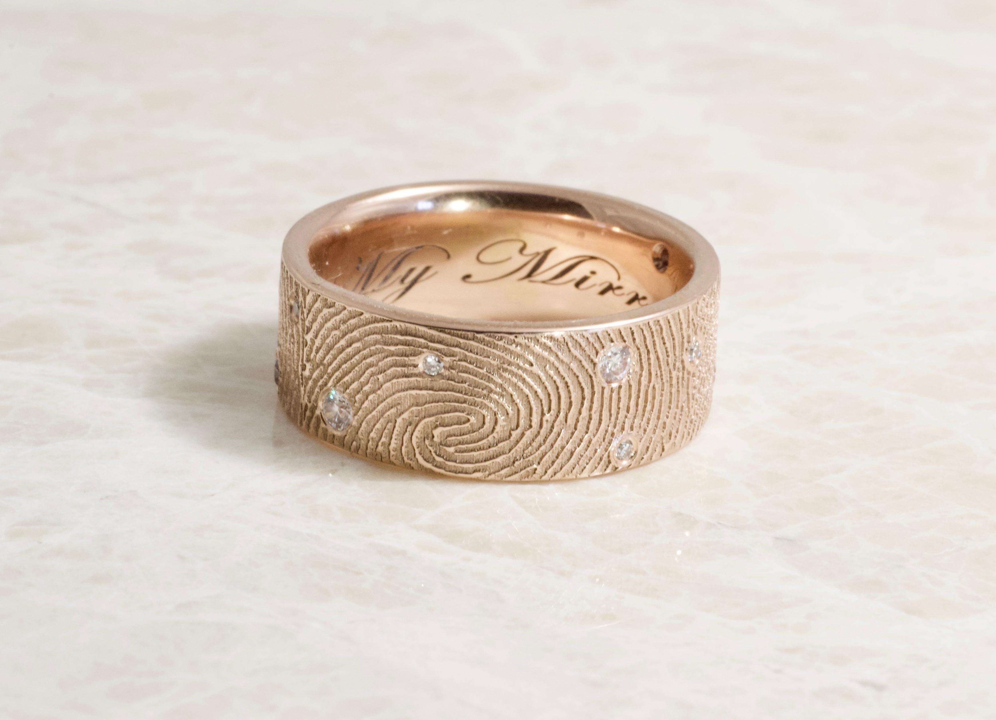 14k rose gold fingerprint ring with scattered diamonds handmade by Brent&Jess