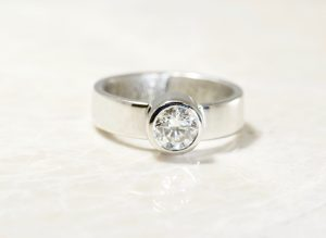 Platinum diamond engagement ring by Brent&Jess