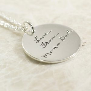Sterling Silver Round Memorial Handwriting Necklace- One Inch