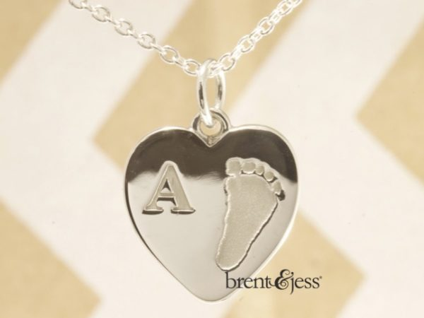 Small Sterling Silver Heart Shaped Footprint with Initial Charm by Brent&Jess