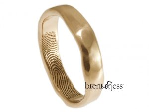 Narrow organic Edge Fingerprint Ring by Brent&Jess in 14k rose gold