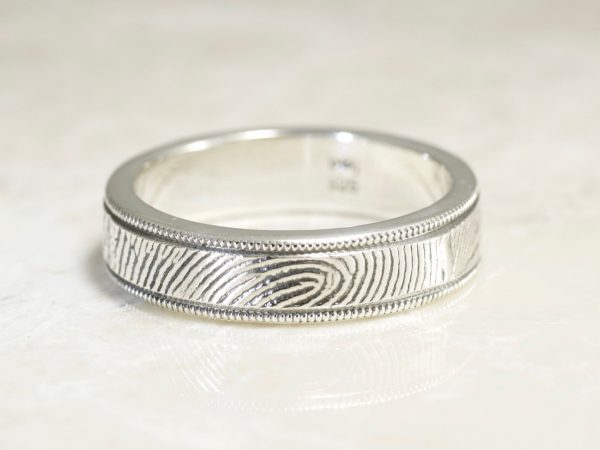 Milgrain Edge Fingerprint Wedding Band with Exterior Wrapped Print in Sterling Silver