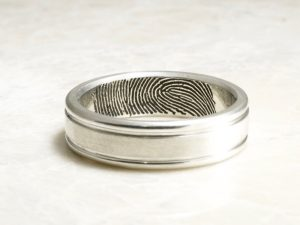 Hand Carved Rims Fingerprint Wedding Band with Interior Tip Print