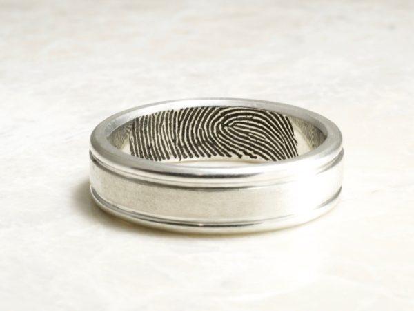 Hand Carved Rims Fingerprint Wedding Band with Interior Tip Print