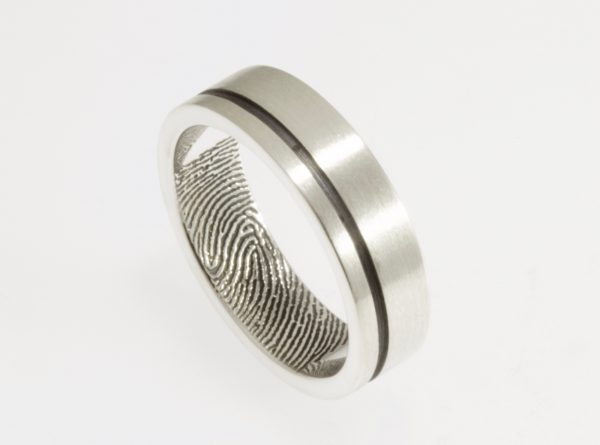 Offset Modern Line Fingerprint Wedding Ring with Interior Fingerprint