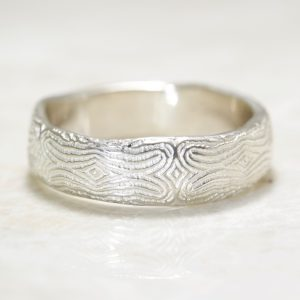 Reflection of You Organic Mosaic Fingerprint Wedding Band