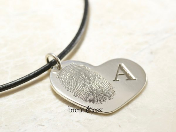 Custom FIngerprint heart necklace with monogram by Bretn&Jess