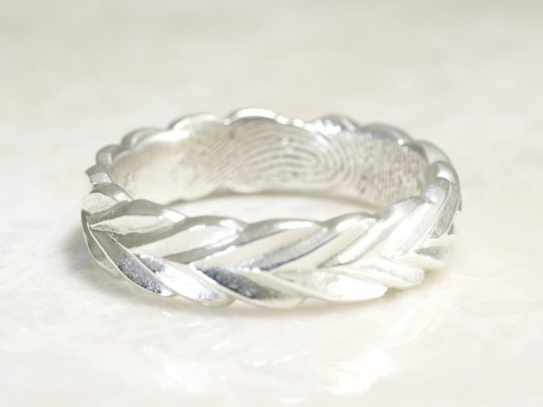 Olive Branch Personalized Fingerprint Wedding Ring in Sterling Silver