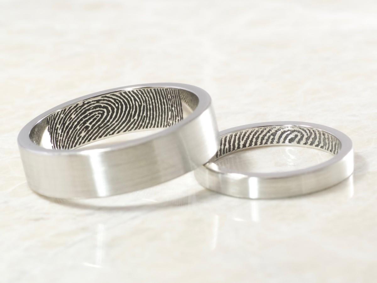 Custom Platinum Fingerprint ring set with inside fingerprints handmade by Brent&Jess