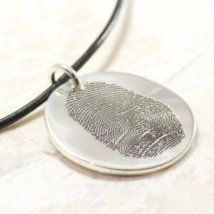 Round Memorial Sterling Silver Fingerprint Necklace