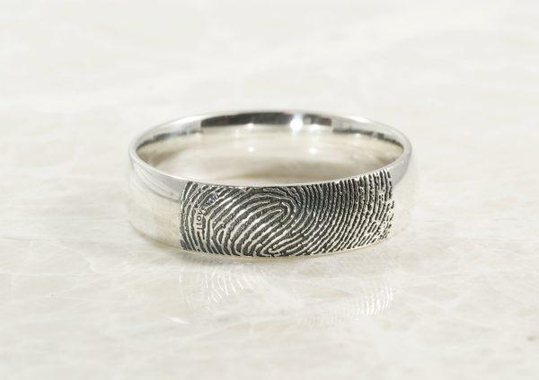 Secret Message Fingerprint Ring in Sterling Silver by Brent&Jess
