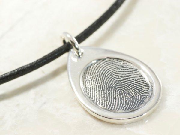 Memorial Sterling Silver Teardrop Fingerprint Pendant with a Border
