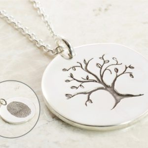 Custom Tree of Life Fingerprint Necklace in Sterling Silver