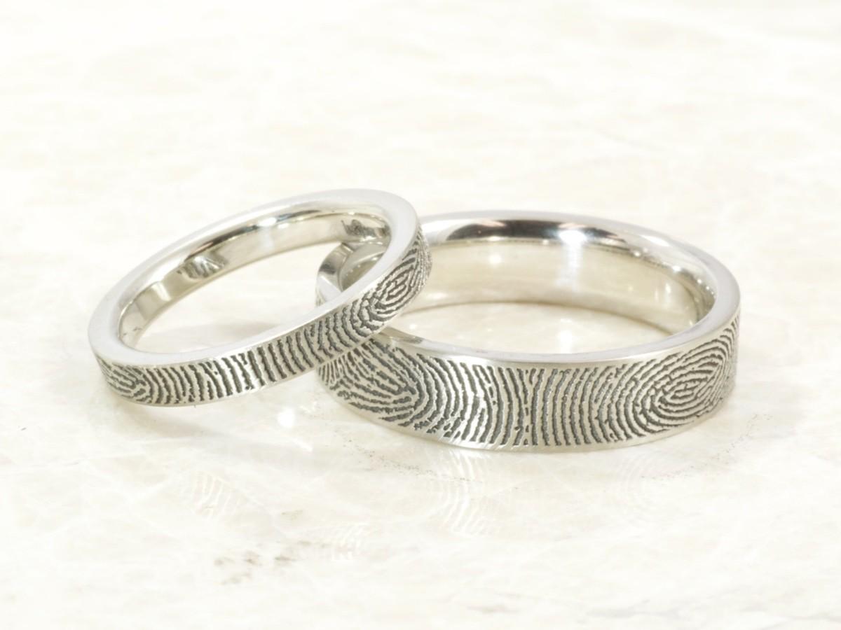 Custom 10k white Fingerprint ring set with exterior fingerprints handmade by Brent&Jess