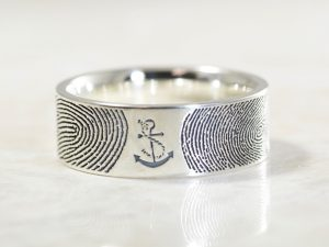 You Are My Anchor Personalized Fingerprint Wide Wedding Ring in Sterling Silver