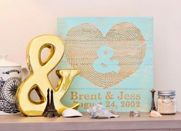 Custom You & Me Fingerprint Wall Art- Aqua