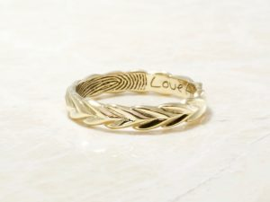 14k yellow olive branch fingerprint ring