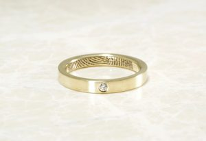 14k yellow diamond commitment band with your fingerprint