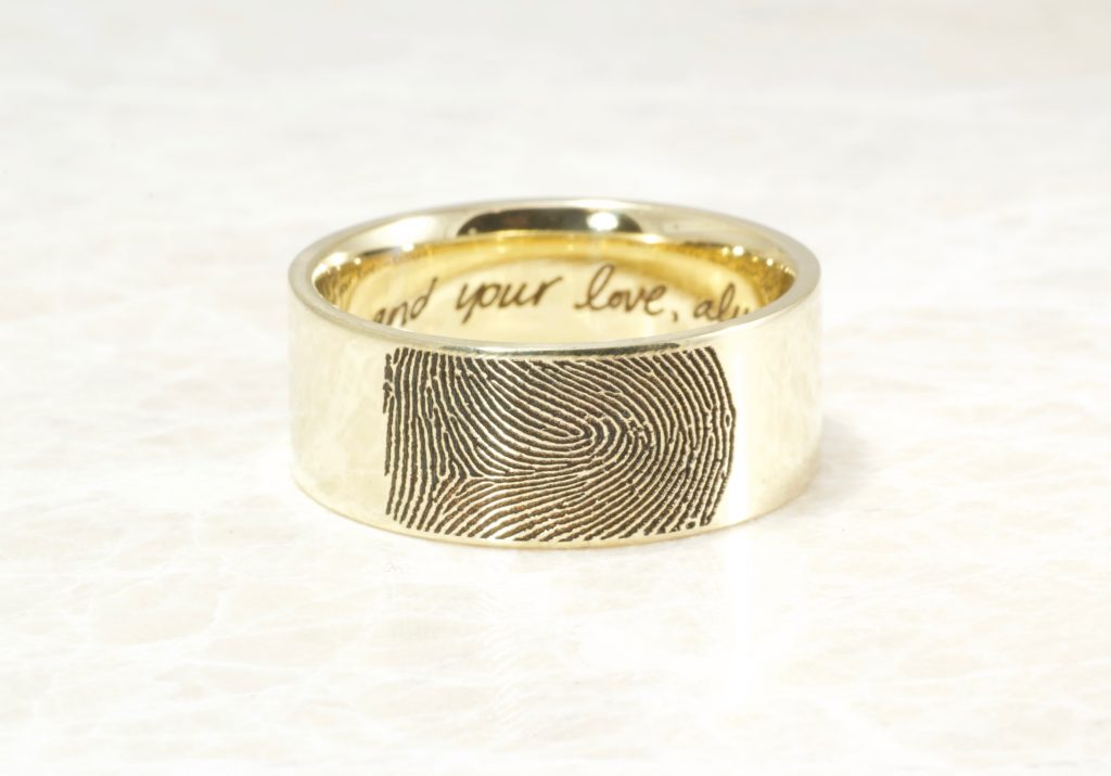 14k yellow gold 10mm wide fingerprint ring with your handwriting on the inside