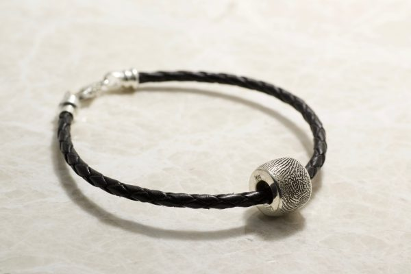 Sterling Silver Small Bead With Fingerprint Charm