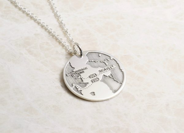 Custom map necklace one inch by Brent&Jess