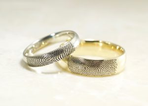 Custom Set of yellow and white 14k wedding rings by Brent&Jess