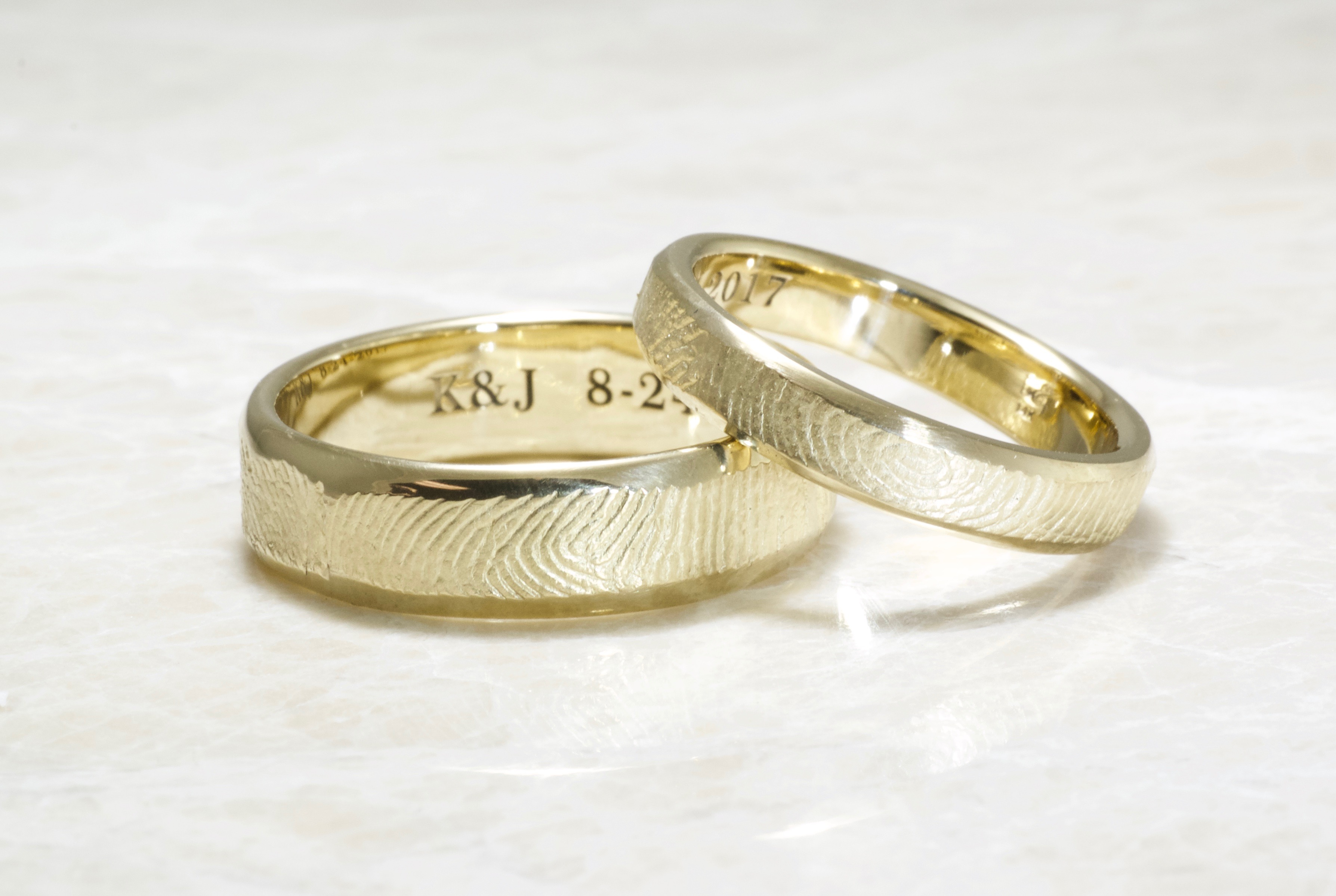 14k gold bevel rings with exterior wrapped fingerprint by Brent&Jess
