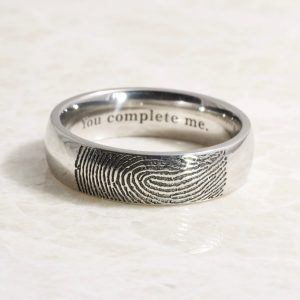 Stainless steel fingerprint ring
