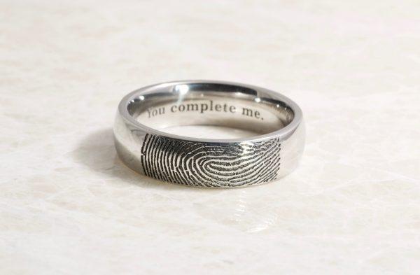 Stainless steel fingerprint ring
