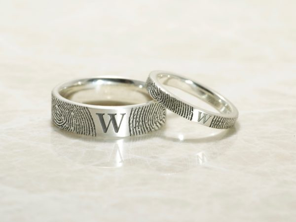 Set of You and Me Monogram Comfort Fit Fingerprint Wedding Bands in Sterling Silver