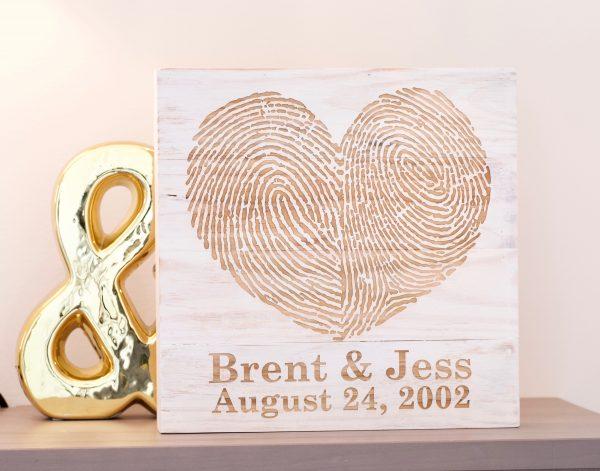 Custom You & Me Fingerprint Wall Art- White